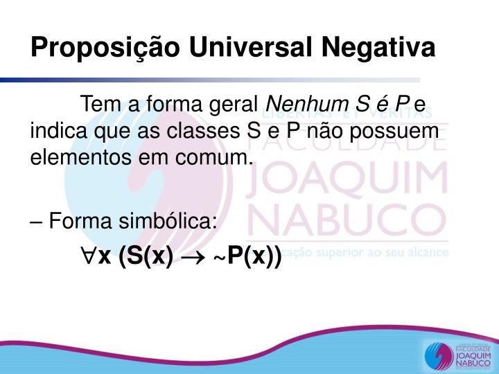 Proposição Universal Negativa