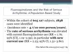 fluoroquinolones and the risk of serious arrhythmia a population based study