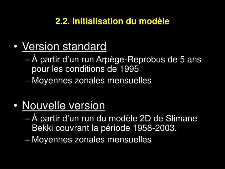 2.2. Initialisation du modèle