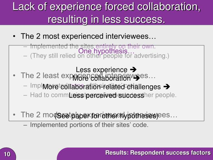 Lack of experience forced collaboration,