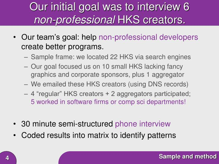 Our initial goal was to interview 6