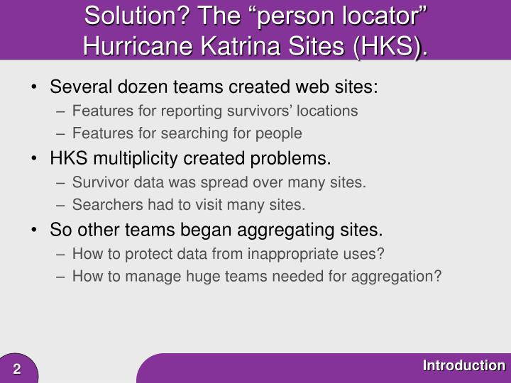 Solution the person locator hurricane katrina sites hks