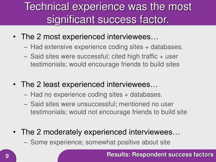 Technical experience was the most significant success factor.