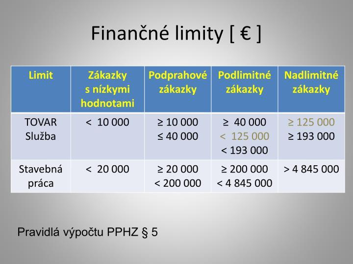 Finančné limity [ € ]