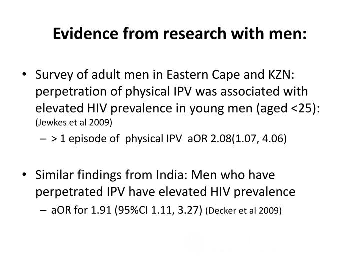 Evidence from research with men: