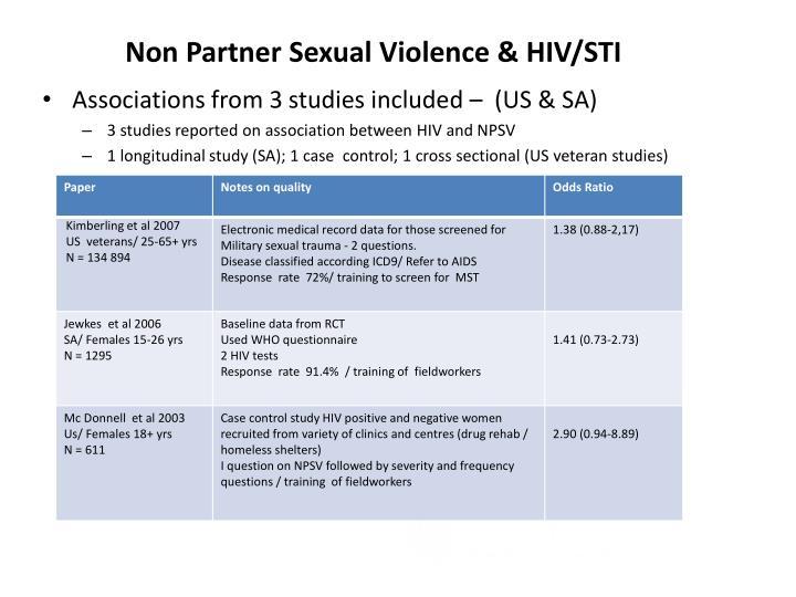 Non Partner Sexual Violence & HIV/STI