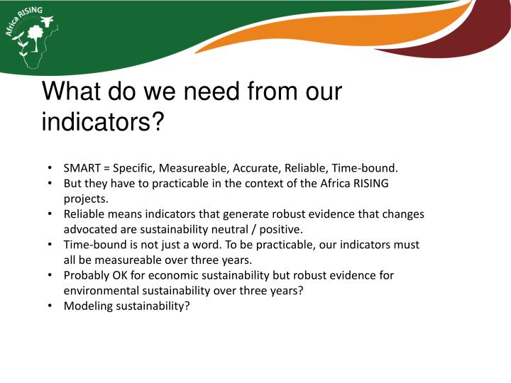 What do we need from our indicators?
