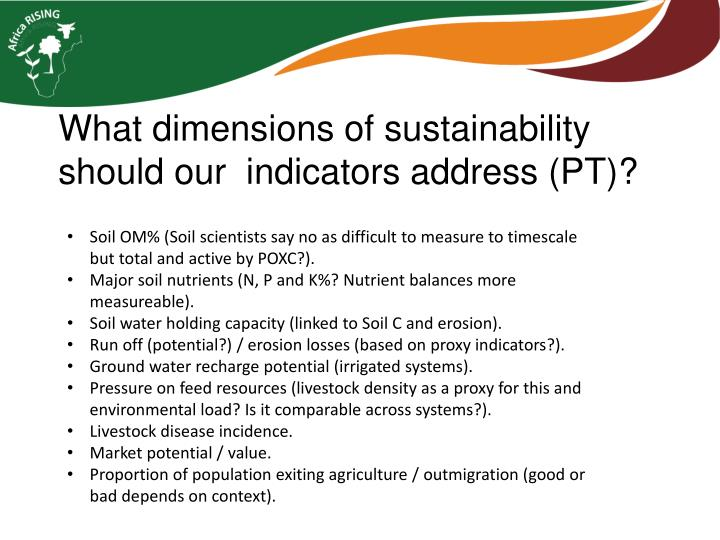 What dimensions of sustainability should our  indicators address (PT)?