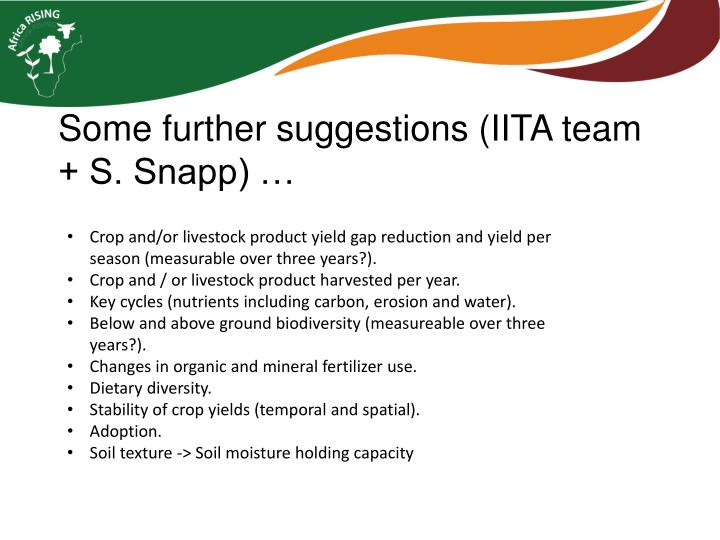 Some further suggestions (IITA team + S. Snapp) …