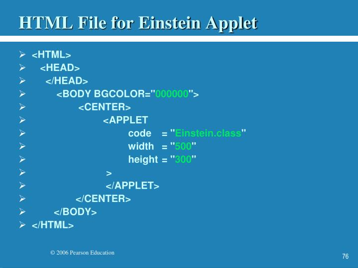 HTML File for Einstein Applet