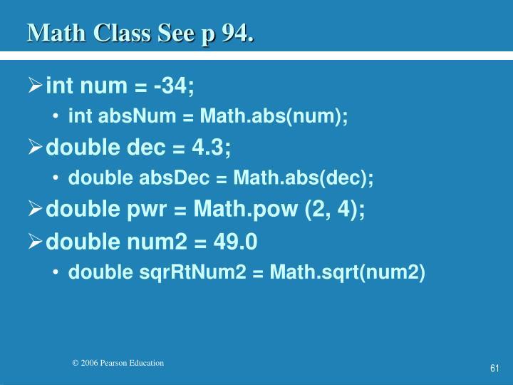 Math Class See p