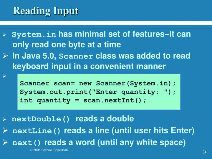 Reading Input