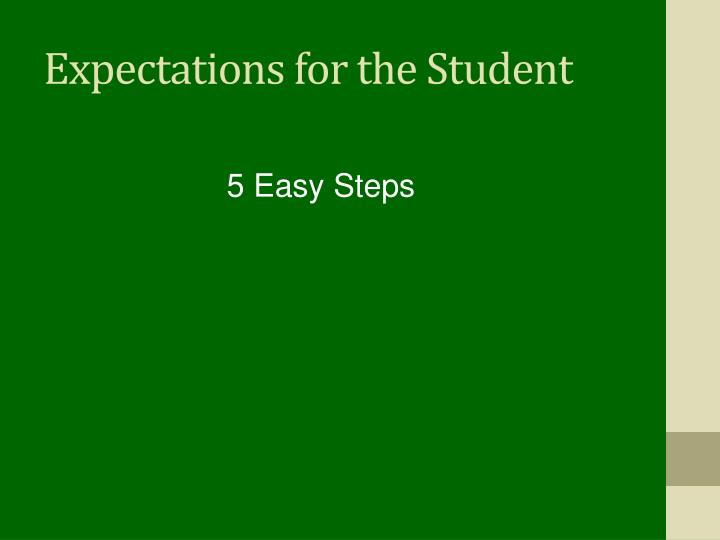 Expectations for the Student