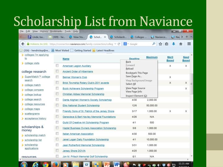 Scholarship List from