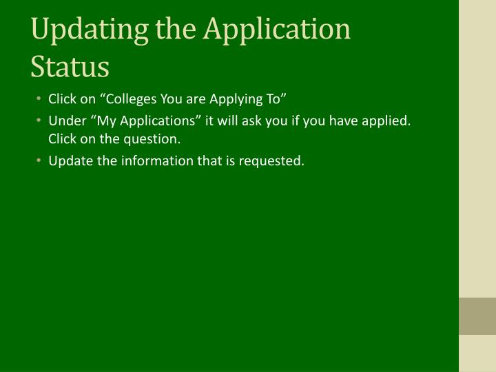 Updating the Application Status