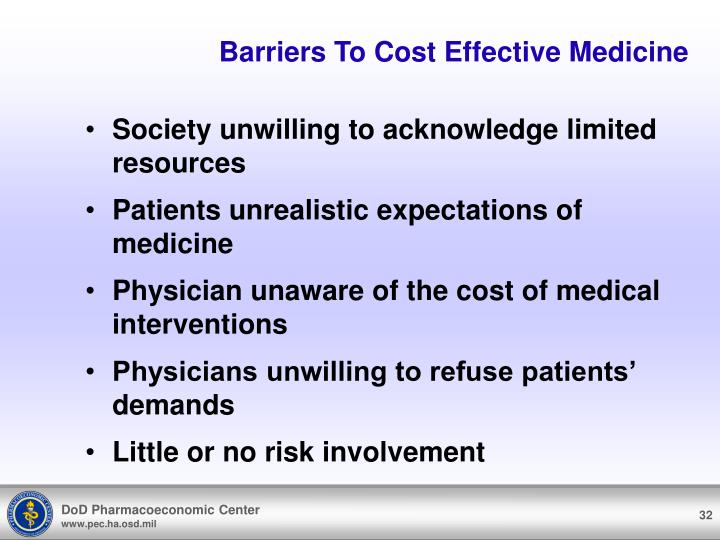 Barriers To Cost Effective Medicine