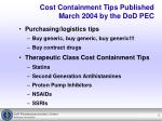 cost containment tips published march 2004 by the dod pec