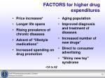 factors for higher drug expenditures