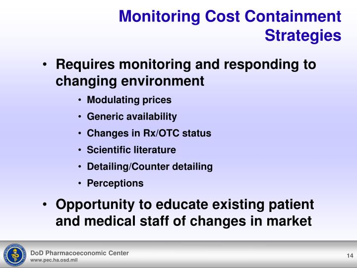 Monitoring Cost Containment Strategies