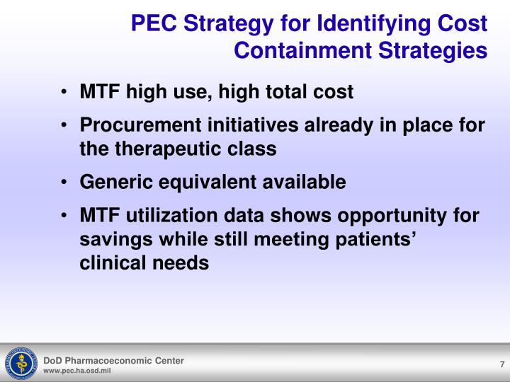 PEC Strategy for Identifying Cost Containment Strategies