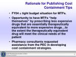 rationale for publishing cost containment tips