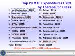 top 20 mtf expenditures fy03 by therapeutic class