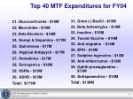top 40 mtf expenditures for fy041
