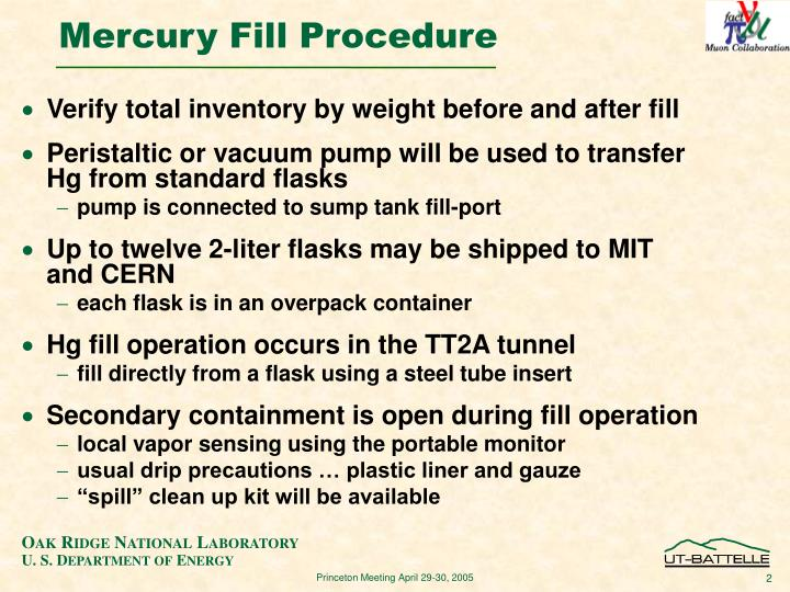 Mercury fill procedure