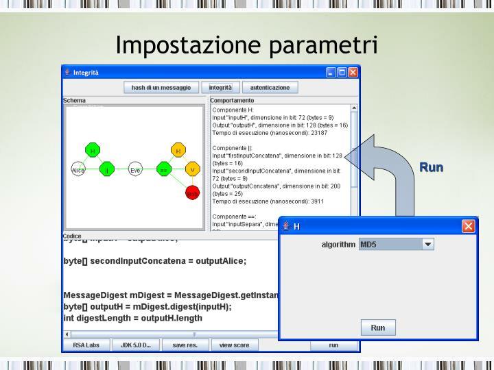 Impostazione parametri