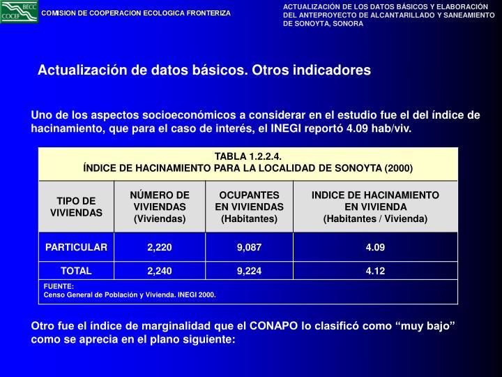 Uno de los aspectos socioeconómicos a considerar en el estudio fue el del índice de hacinamiento, que para el caso de interés, el INEGI reportó 4.09 hab/viv.