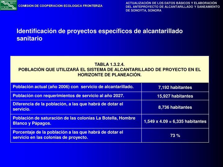 Identificación de proyectos específicos de alcantarillado sanitario