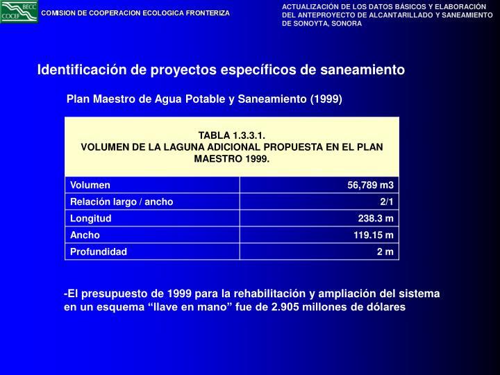 Plan Maestro de Agua Potable y Saneamiento (1999)