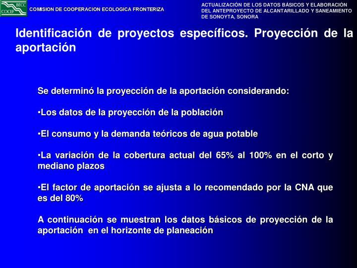Identificación de proyectos específicos. Proyección de la aportación