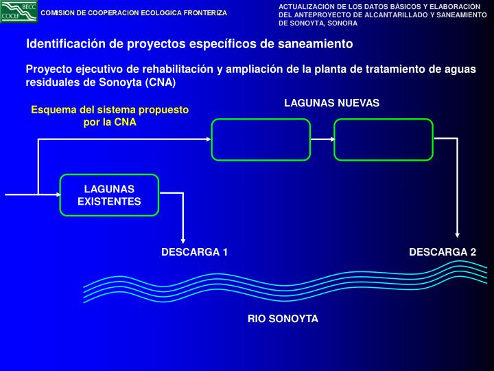 Identificación de proyectos específicos de saneamiento