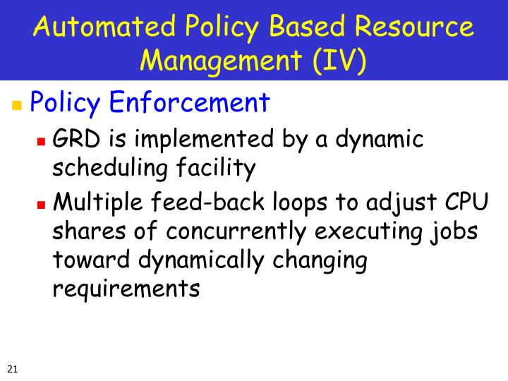 Automated Policy Based Resource Management (IV)