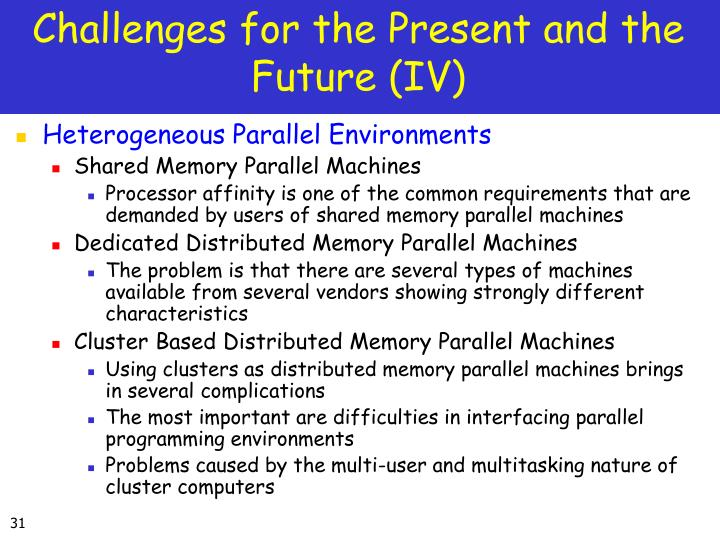 Challenges for the Present and the Future (IV)