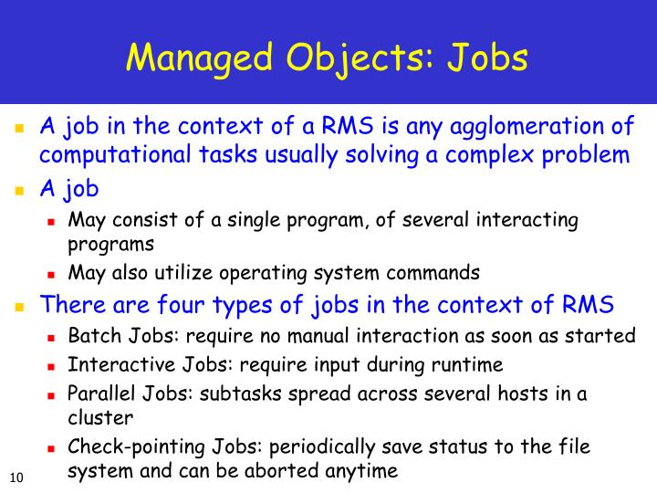 Managed Objects: Jobs