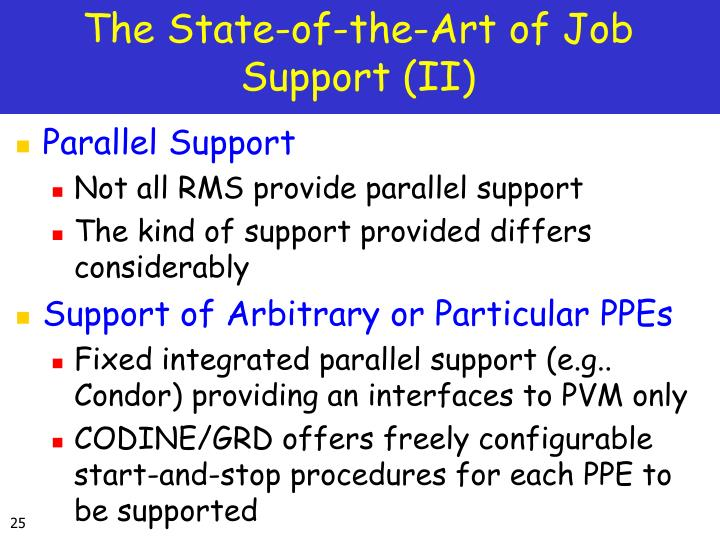The State-of-the-Art of Job Support (II)