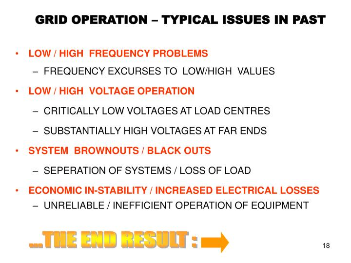 GRID OPERATION – TYPICAL ISSUES IN PAST