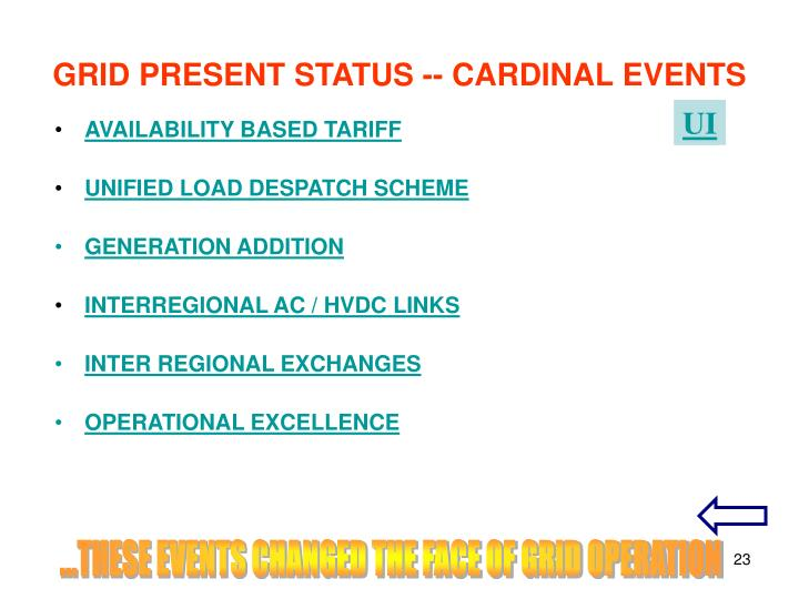 GRID PRESENT STATUS -- CARDINAL EVENTS