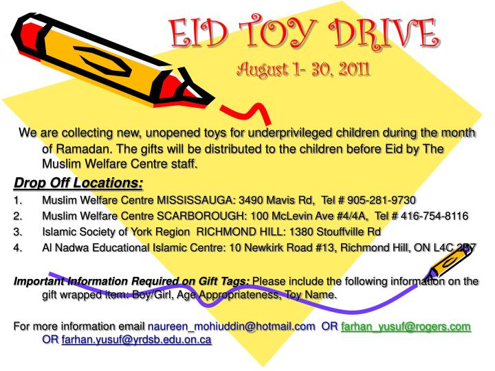 Eid toy drive august 1 30 2011