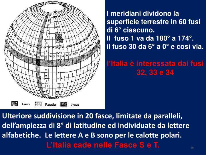 I meridiani dividono la superficie terrestre in 60 fusi di 6° ciascuno.