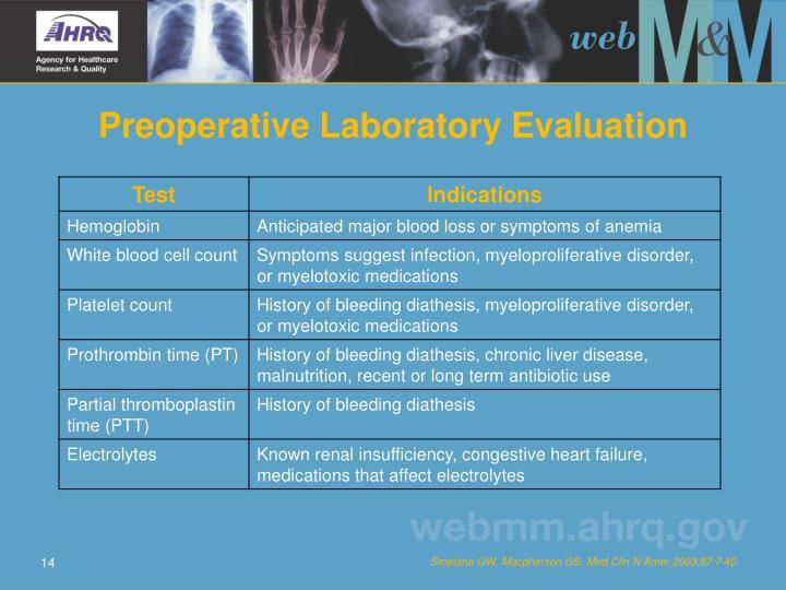 Preoperative Laboratory Evaluation