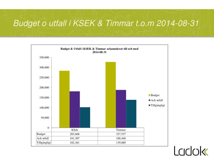Budget o utfall i KSEK & Timmar