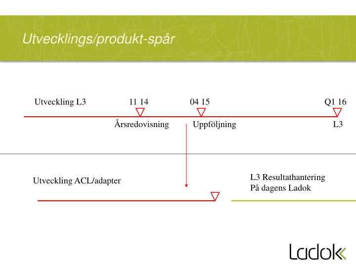 Utvecklings/produkt-spår