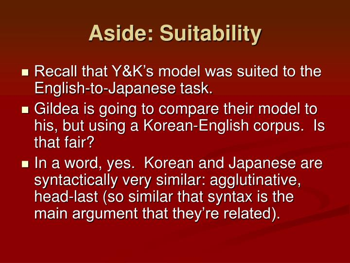 Aside: Suitability