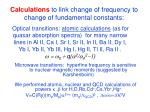 calculations to link change of frequency to change of fundamental constants