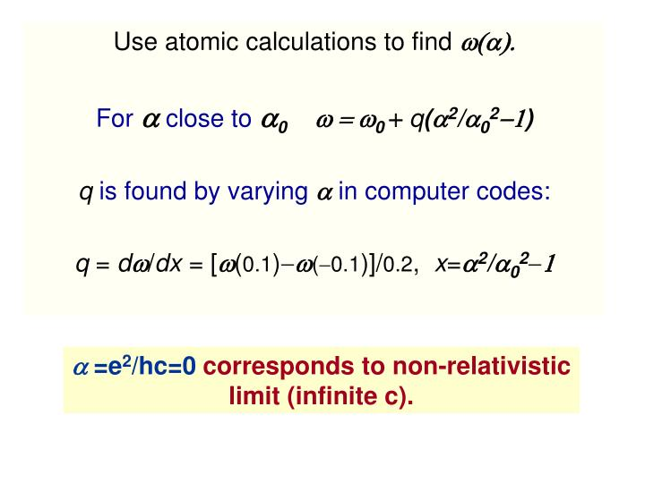 Use atomic calculations to find