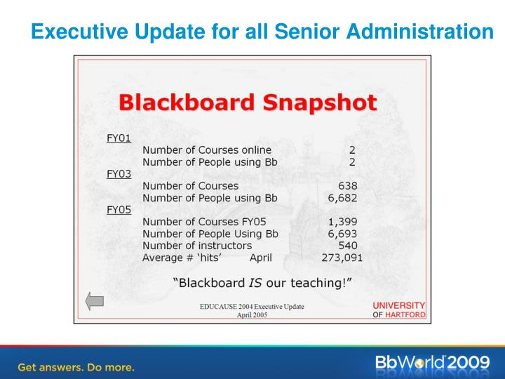 Executive Update for all Senior Administration