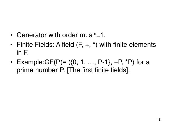 Generator with order m: a